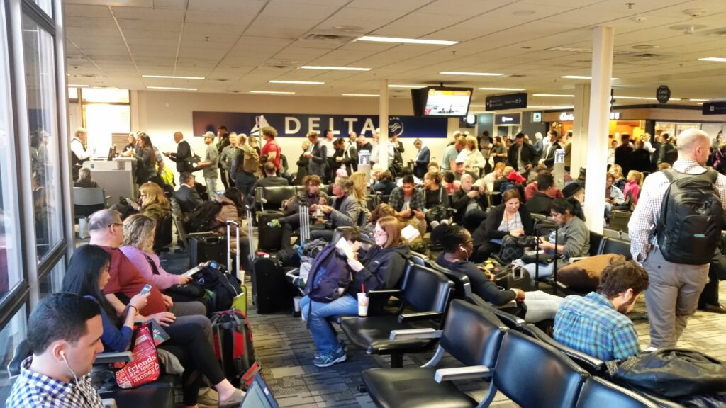 A chaotic airport terminal