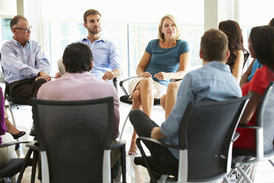 Group of chairs in circle for a meeting