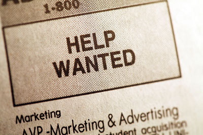 A help wanted advertisement in the newspaper