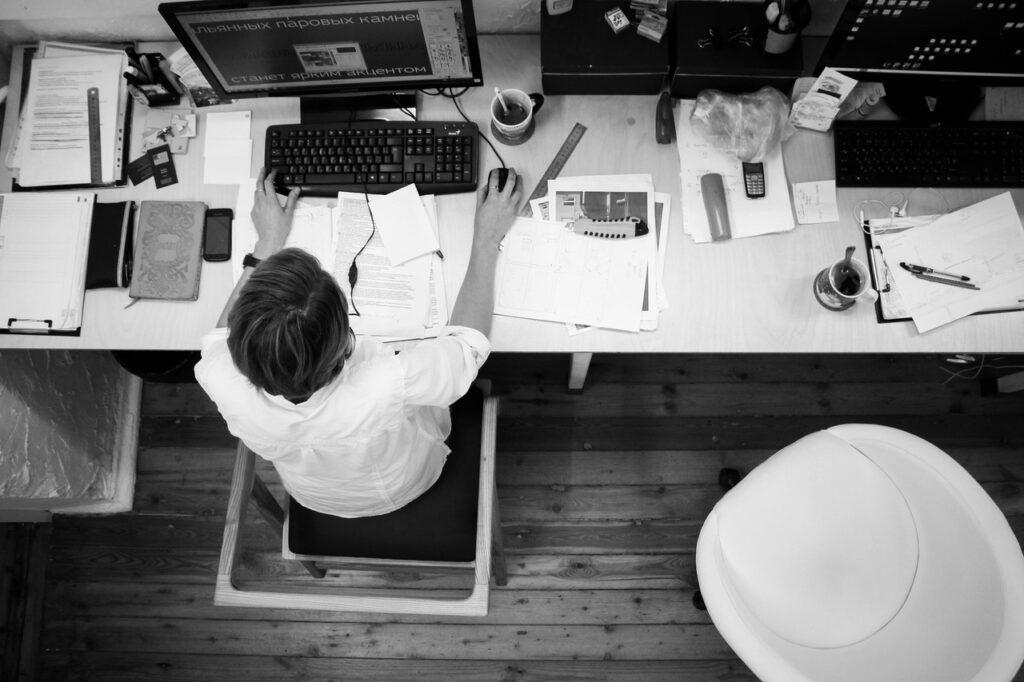 Overhead view of an office desk