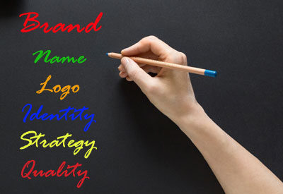 """A person writing on the board, """"Brand: Name, Logo, identity, strategy, quality"""