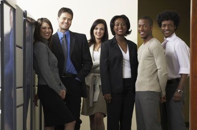 Group of office workers posing for a photo
