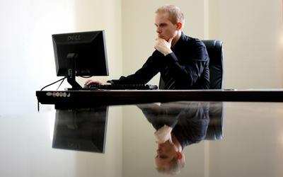 Person at his desk