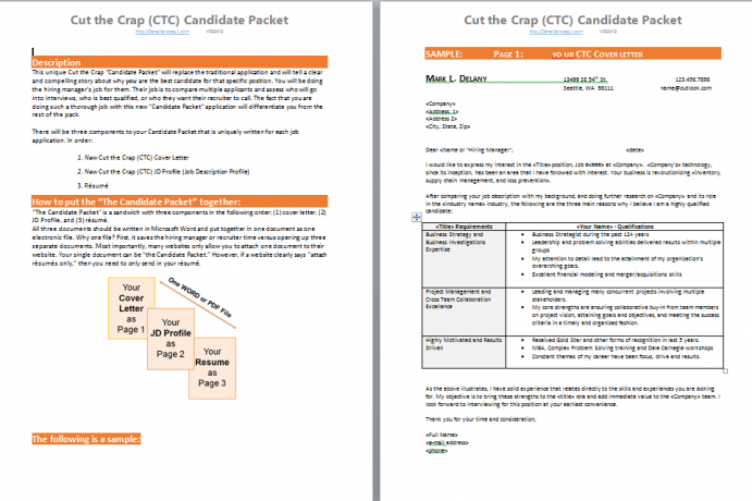 Cut the Crap (CTC) Candidate Packet