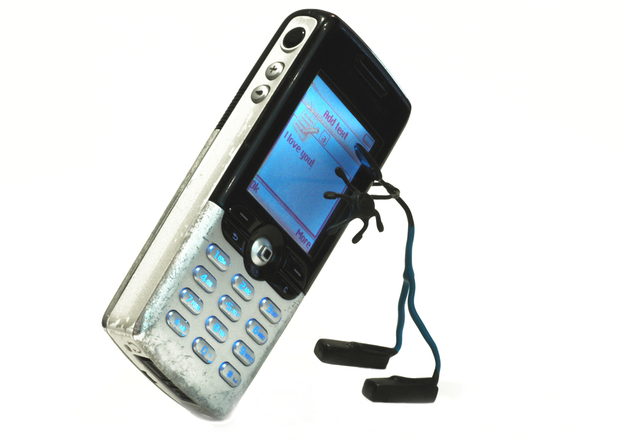 A phone with headphones