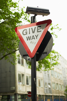 """It's Your Career - Get Out of Your Own Way! represented by a sign that says """"give way"""""""