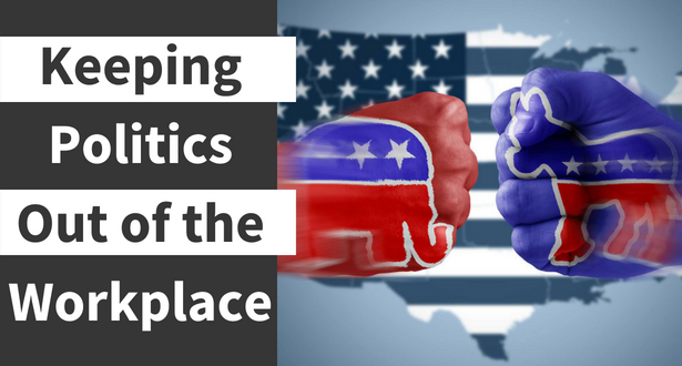 Graphic with an American Flag background and the two political party images
