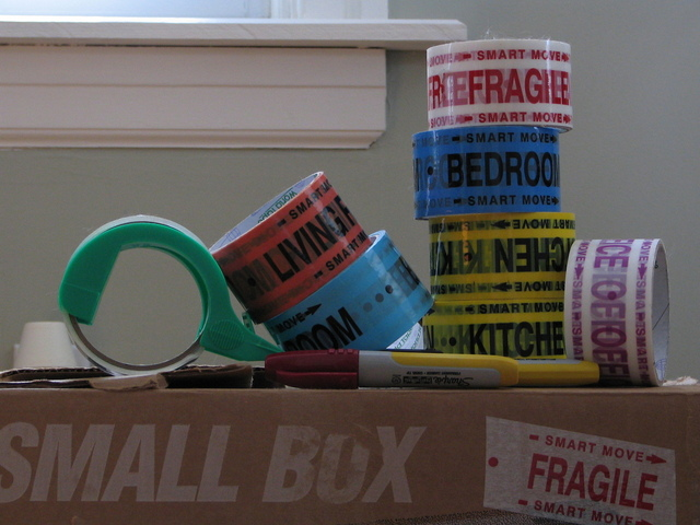 Packing tape that says fragile