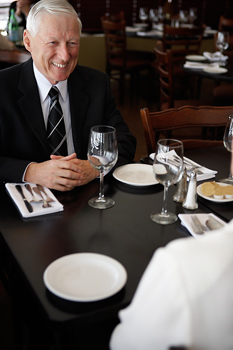 Business people networking at lunch