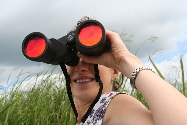 A job seeker looking through binoculars