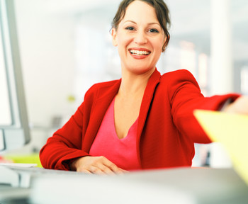 female executive in a corner offices