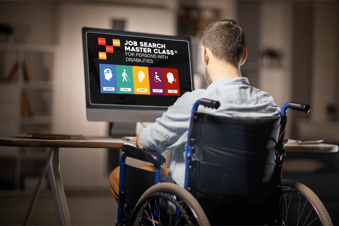Person in wheelchair using Job Search Master Class for Persons with Disabilities