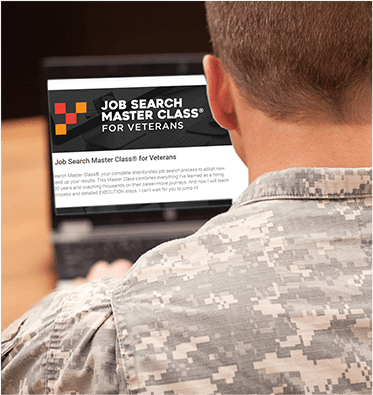 Someone using Job Search Master Class for Veterans on their laptop
